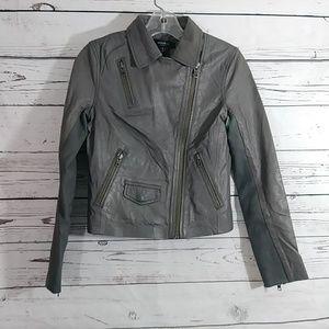 Muubaa London Gray Lamb Leather Moto Jacket